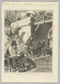 On the left in the foreground, a man sits fishing. Behind him, a battle is seemingly taking place. Soldiers on the bridge are being shot at and are running down the side of the bank and under the bridge. The man fishing in the foreground appears unfazed. The battle taking place is likely meant to be the battle at the Pont de Neuilly on the second of April, 1871, which was part of the failed march on Versailles by the Commune.