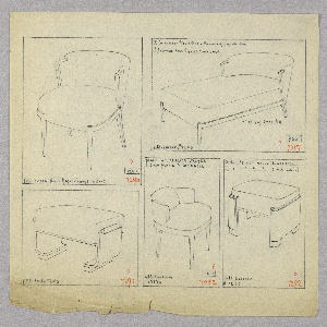 Drawing, Chair/Chaise Lounge/Stool, 1930–1935