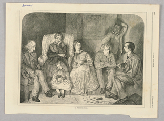 Group of figures in front of a fire listening to a man tell a story.