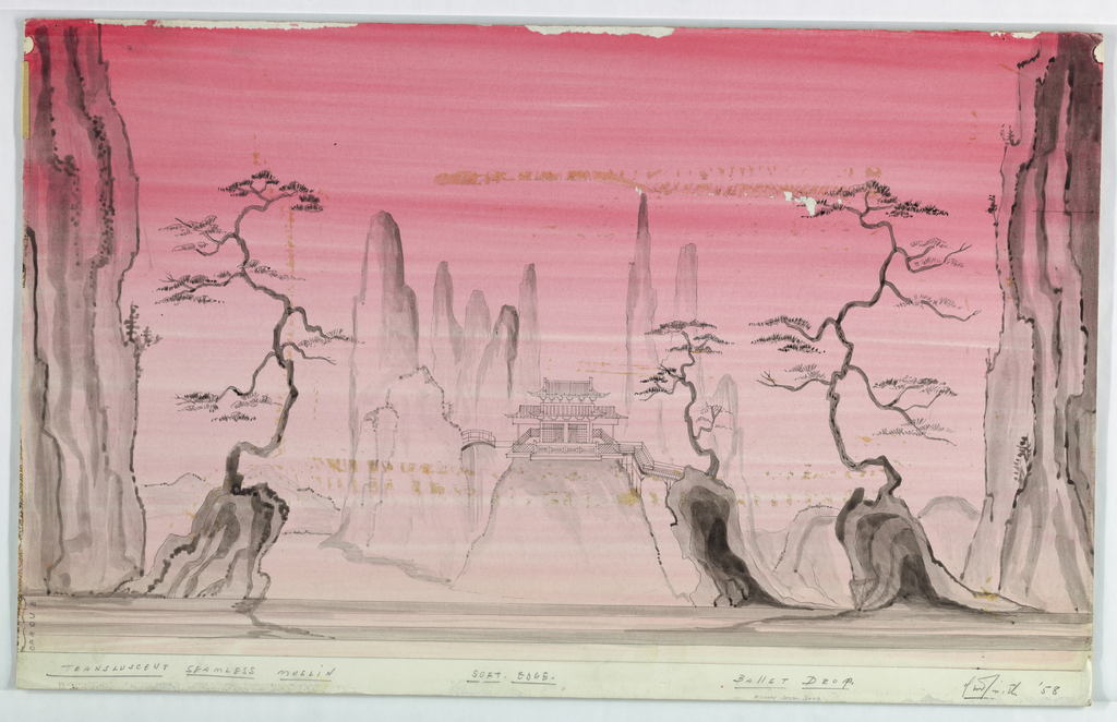 Drawing, Stage Design: Ballet Drop, for Flower Drum Song, 1958