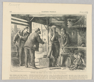 A man who appears to be a blacksmith stands in the center of the image with a hammer in his left hand and his other to his mouth as if he contemplating a choice. On the left of the image, two men, presumably members of a strike, lean towards the man in the center as if urging him to join. On the right of the image, a woman places her hand on his and leans towards him with an expression of worry while children sit, smiling, in the foreground on the right of the image.