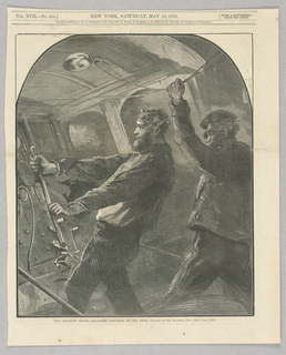 Scene illustrating the railway disaster at Meadow Brook, Rhode Island. Illustration shows the engineer and fireman sticking to their posts despite the danger. The two men died in the disaster.