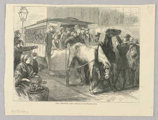 A crowded horse-drawn trolley moves through the road pulled by two horses. One horse raises its head as a man in a top hat holds its reins and points upwards.