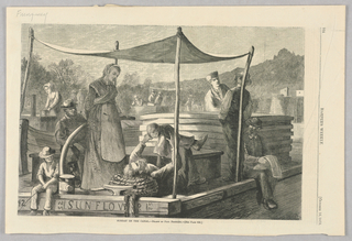 """A freight boat with the name """"Sunflower"""" floats on the canal. The family of the captain rests upon it, some figures under the shade of an awning. In the lower center of the image, the captain holds up his young child as he lies back on the floor of the boat. In the background, other boats can be seen."""