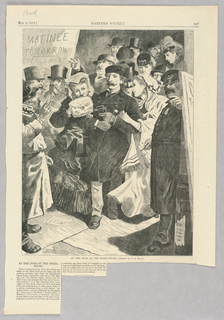 Figures in formal dress leave an opera-house after having watched an opera.  A man and woman with arms linked at the front of the crowd hold up small bags, while a woman to the man's right leans towards him, her arm also linked with his.