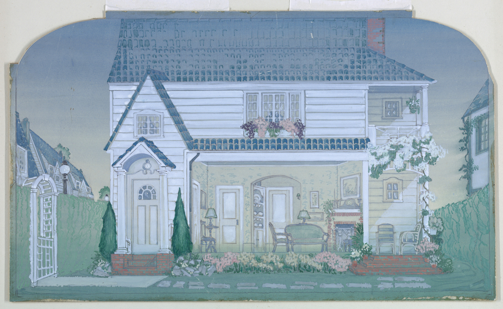 Horizontal rectangle. The cross-section of a frame house, exposing the living room, and porch. A small garden is seen in the foreground.