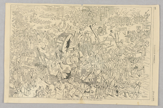 """Chaotic scene. Large group of people carrying broken instruments seen from above and afar.  At the center, a ruptured drum inscribed with the phrase: """"Let us have peace."""""""