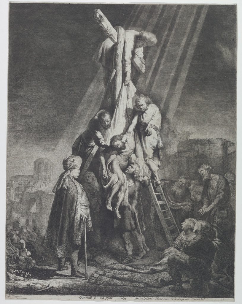 Rays of light throw the central group, representing the figure of Christ being removed from the Cross, into strong relief. Other figures in foreground, right; background, left. Spectator, left, wears a richly embroidered cap and Oriental turban (probably Joseph of Arimathea).