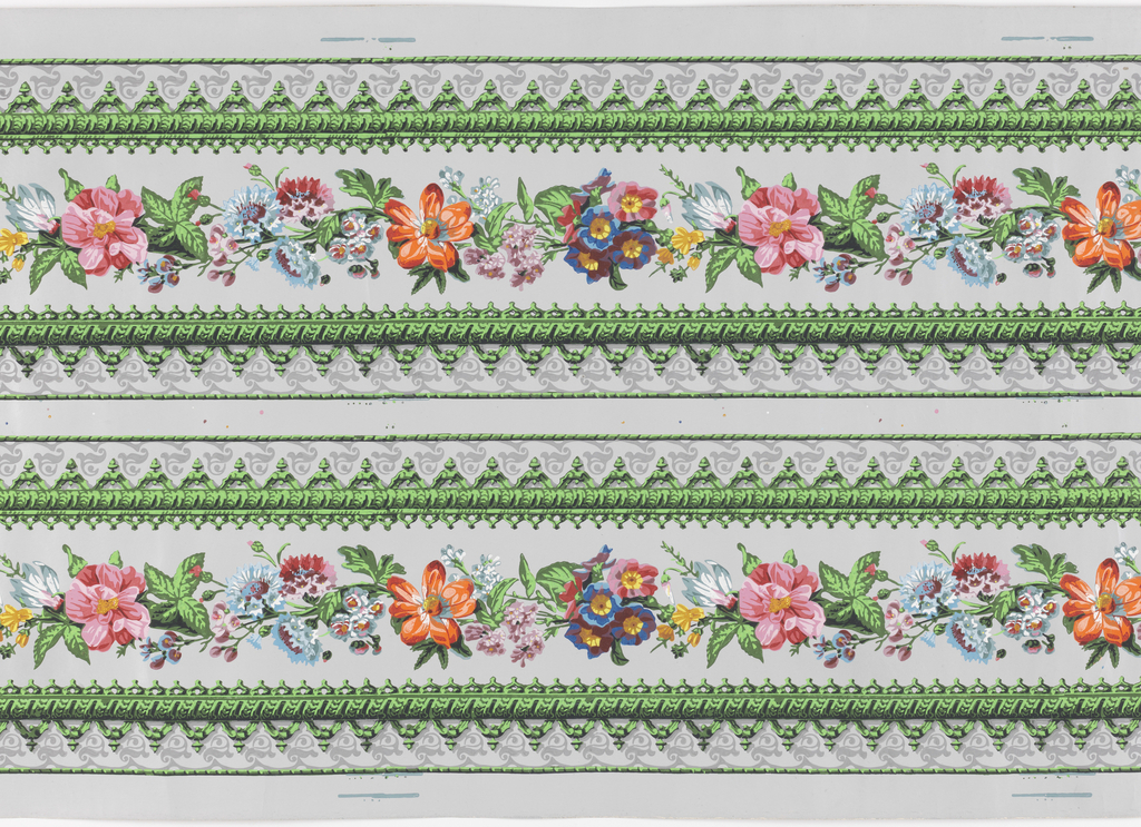 Printed two borders across width, continuous floral garland on gray satin ground.