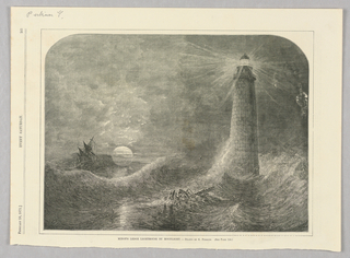 Minot's lighthouse beams light out in all directions over tossing waves. On the left, a ship tilts in the turbid seas. To its right, the moon is full and hovers just above the water, casting light out before it.