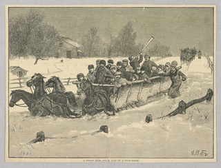 Figures on a hay cart drawn by horses in snow high enough that it comes up to the horses' torsoes. They have gotten stuck in a snow drift. In the back is another cart approaching.