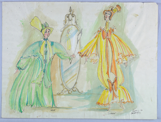 Drawing, Costume Design: Clorinda and Thisbe, for Cinderella, 1966