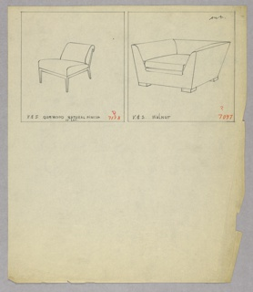 Drawing, Chair and Armchair
