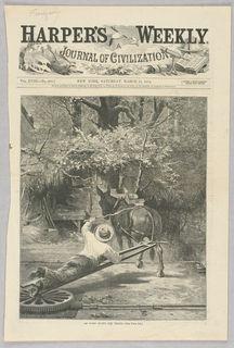A figure urges on a mule who is powering pump at a way station, which stores water in a reservoir for later use. This scene demonstrates a moment from along the Texas railway, where water was scarce and reservoirs like this one were essential.