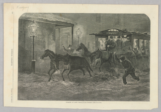 A  horse-drawn trolley full of people moves through a street with street lamps. On the right of the image, a man cracks a whip at the horses.