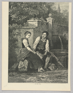 A man and woman sit beside a well. The man looks towards the woman and has placed his hand on hers.