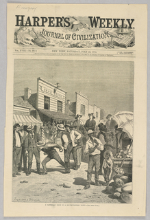 Figures in a small Southwestern town on a Sunday when the farmers arrive to make Sunday purchases. In the center of the image, some figures play a game, quoit pitching, where a ring of metal is thrown and players attempt to get their ring as close to a peg as they can.
