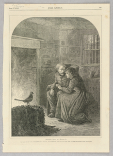 A man and woman sit in an interior space in front of a fire, hands clasped together. A bird perches to the left of the image, standing out in front of the light of the fire. Illustration of a scene from Bret Harte's short story.