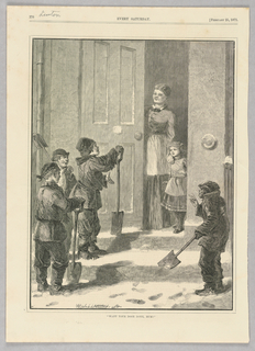 A group of boys ask a woman standing with her child in her doorway if she'd like them to shovel the snow that's out front of her door.