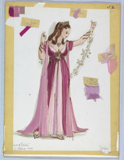 Vertical rectangle. Female figure in dark plum and pink dress, holding garland of flowers. Eight fabric swatches attached.
