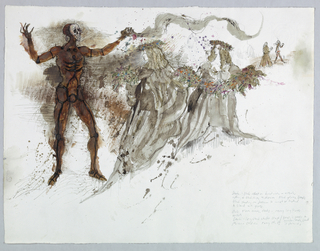 Horizontal rectangle. At left, brown skeleton figure holding long flowing scarf in left hand. At right, two girls in long full costumes, flower crowns and carrying a flower garland between them. Costume details inscribed in pencil, lower right.