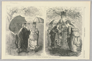 Two images side by side. On the left, a group of women stand in the rain protected by large umbrellas. On the right, a group of women in less practical clothes for the rain and smaller, more decorative parasols, huddle together.