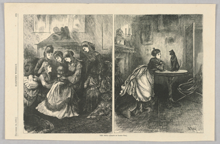 In the left scene, women gather around a baby on the lap of a woman. In the right scene, a woman leans on a table looking at a cat.