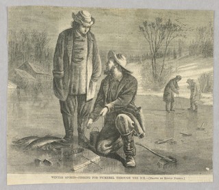 Two men in the foreground on a frozen lake fish for pickerel through the ice. One man kneels while the other stands. Dead fish rest on the ice near the feet of the standing man.