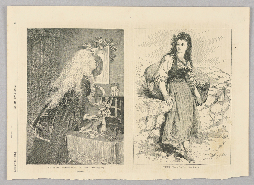 In the left illustration, a woman kisses the image of a soldier hung on her wall while holding flowers in her left hand. In the illustration on the right, a peasant girl sits on a stone wall with a large basket strapped to her back.