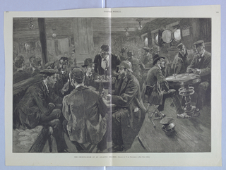 Interior scene of the smoking room of a ship. Men sit around tables smoking, playing cards, and drinking. At the center, a server with a tray of glasses and a bottle of alcohol offers drinks to the men at a table.