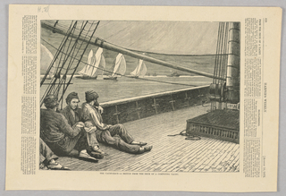 Scene of the deck of a boat. Three figures on the left leaning against the side of the boat. Several boats in the background.