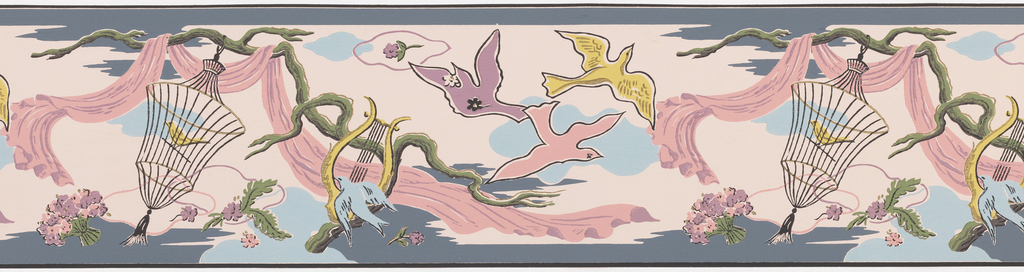 Pink and purple fabric draped from branch, bird in cage, and doves flying, white clouds on pink ground.