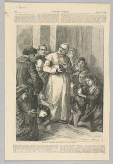 Figures kneeling and bowing before Pope Pius IX in the Vatican. One boy reaches up towards the Pope. The Pope is holding a snuff-box.