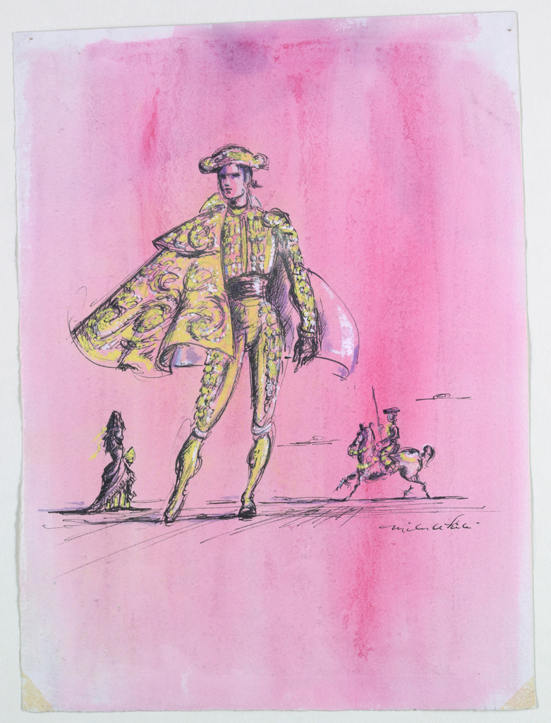 Vertical rectangle. Bull fighter in yellow costume with cape and hat; miniaturzied woman at left in bustled dress with fan; miniaturized man on horseback. Pink background.