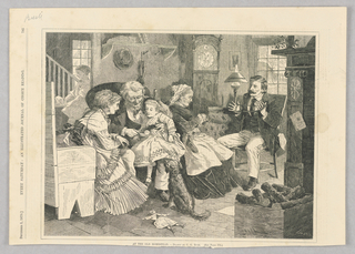 A group of figures inside a home. An older man sits with a young girl in his lap, showing her his pocket watch. To their left is a woman and to their right is an older woman holding a ball of string. The man across from her has that same string wrapped around his hands. A dog sits in front of the old man and young girl, and a doll lies face up on the ground before the dog.