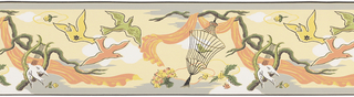 Terra cotta and yellow fabric draped from branch, bird in cage, and doves flying, white clouds on soft yellow ground.