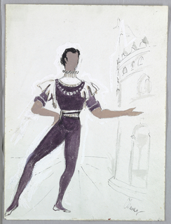 Male figure in purple tights with white accents. Left arm extended and right hand on hip.