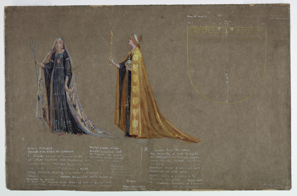 At left, figure in blue with veil and diadem holding a trident, facing frontally, with gaze directed towards right. At right, figure in golden cloak, wearing diadem and holding scepter and orb, seen in left profile. Indications of a shield at right. Notations throughout.