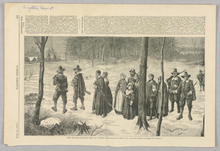Group of New England Puritans walking to church. They walk through a snowy field with trees on either side. The men carry rifles and wear capotains. The minister carries a bible.