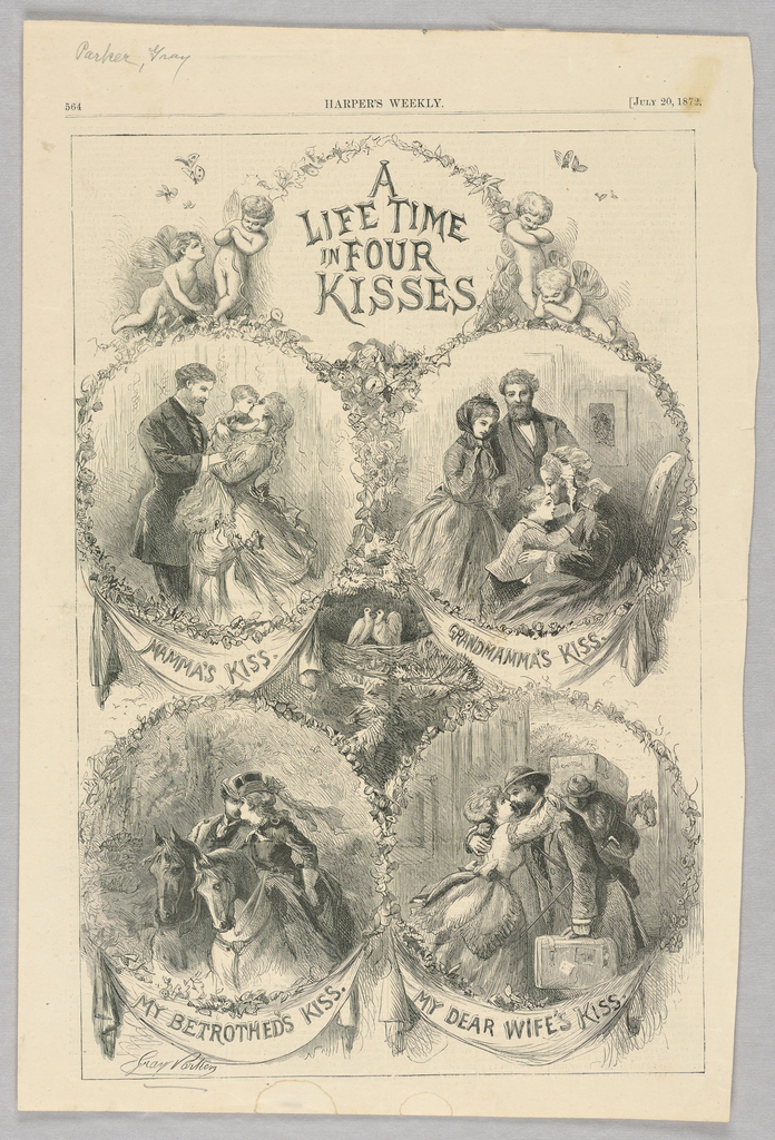 Four circular scenes. On the top left, a woman standing beside a man kisses a baby in her arms. On the top right, an old woman kisses the forehead of a child. On the bottom left, a man and woman, each on a horse, kiss. On the bottom right, a man and woman kiss.