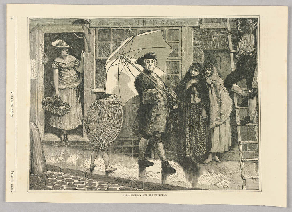 Jonas Hanway in a city street holding up an umbrella. Hanway returned from France and began to use an umbrella in England, which was unheard of at the time. Umbrellas were frowned upon as indicating weakness and poor character, and Hanway faced public shaming. The image shows bystanders looking on in shock.