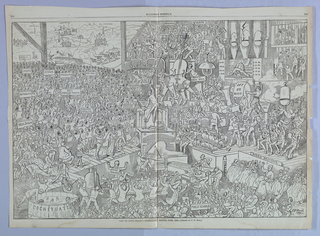 """View of huge group of people playing in an orchestra. At the center, a conductor gestures with a baton. """"Let us have peace"""" was the slogan of Ulysses S. Grant's presidential campaign of 1868."""