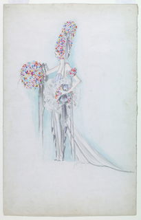 Vertical rectangle. Woman standing in left profile, tall headdress of colors flowers, wearing halter-neck dress with long train.