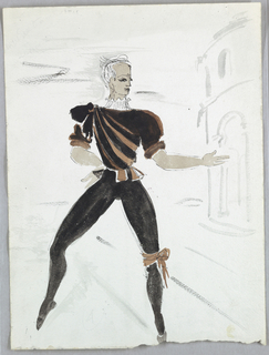 """Drawing, Costume Design: Courtier for """"Schumann Concerto"""", 1951"""
