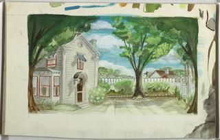 "Drawing, Set Designs: Backyard of Willie Baxter for ""Seventeen"""