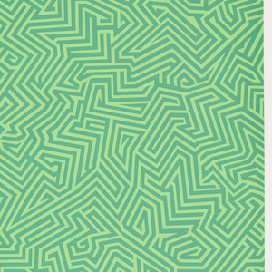 All-over pattern of green maze-like design on green ground.