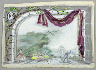 "Drawing, Set Design: A la Campagne for ""Schumann Concerto"", 1951"