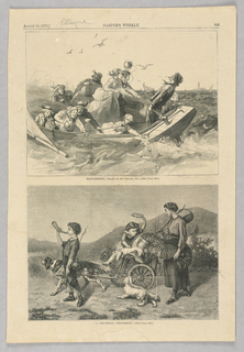 In the top image, a group of figures are on a boat in the ocean fishing for blue fish. In the bottom image, a woman on the right holds a stick with a basket on the end. A young child sits in a small cart pulled by a dog while a child stands beside the cart and another blows a hunting horn.