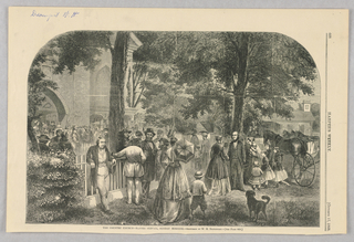 Group of figures outside a country church waiting before the Sunday morning service begins. The church is in the back left.  A  fence separates the street from the church yard. In front of the fence are more figures, a horse-drawn carriage, and a dog.
