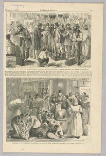 Two illustrations on one page of Harper's Weekly. In the top image, an inspector reads out roll-call in front of a large group of street-sweepers. In the bottom image, rag-pickers who have collected materials to sell for money wait in line. On the bottom left, two figures kneel beside an open bag.